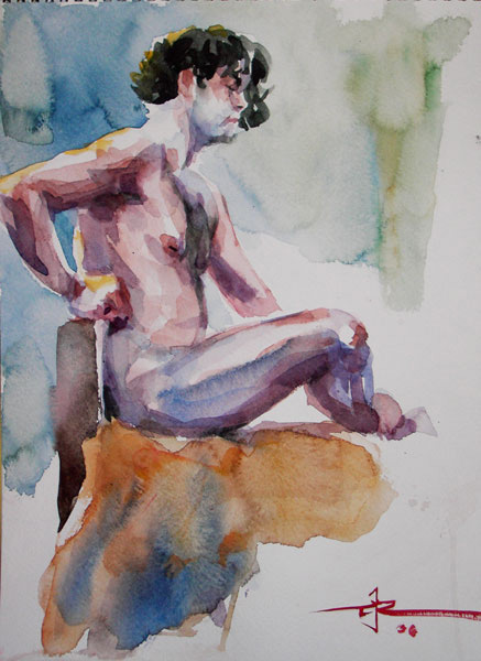 Male Nude, Seated In Profile