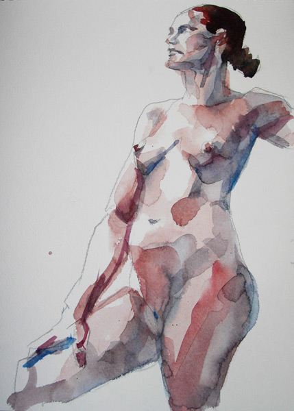 Female Nude, Standing In Semi-Profile, Her Right Arm Resting On Her Leg