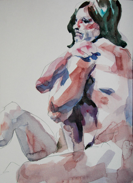 Roger, Seated In Profile, With Arms Wrapped Around His Shoulders (A Female Nude Seated Behind Him)