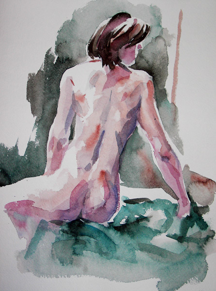 Female Nude, Seated In Reverse, Leaning On Her Right Arm