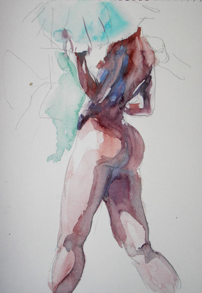 Female Nude, Standing In Reverse, with Blue Umbrella