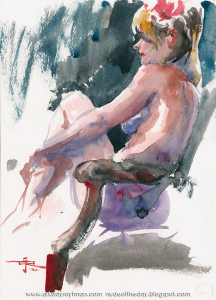 Jenny In Profile, Seated In A Chair With Raised Leg