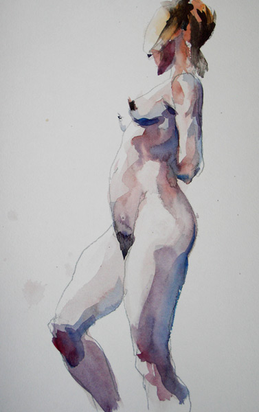 Female Nude, Standing In Profile, With Knees Slightly Bent