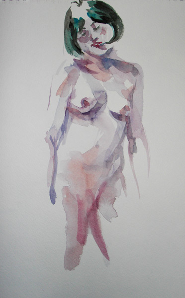 Female Nude, Standing, Shrugging Right Shoulder