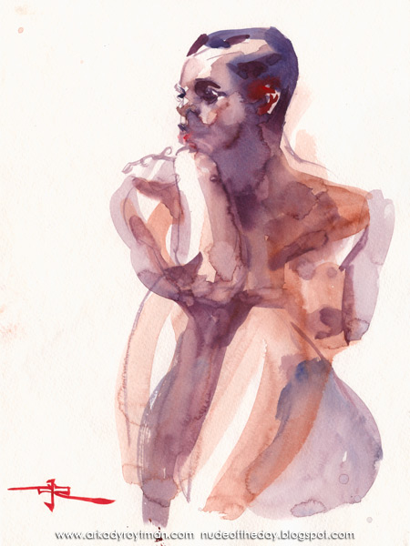 Seated Female Nude, Her Arms Resting On Her Knees