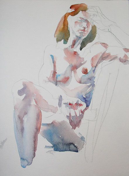 Seated Female Nude, With Worry On Her Face