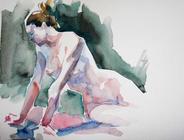 Seated Nude Leaning On Both Arms