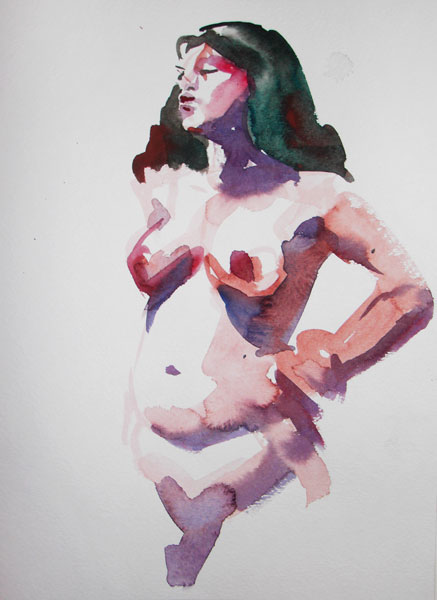 Standing Female Nude, Her Left Arm Resting On Her Hip