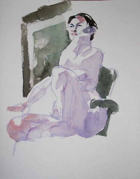 Yen, Seated In A Chair, Her Left Elbow Resting On Her Raised Knee
