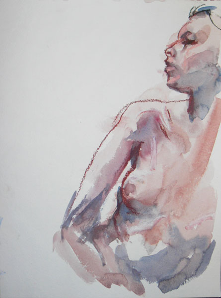 Female Nude Torso Looking Over Her Right Shoulder