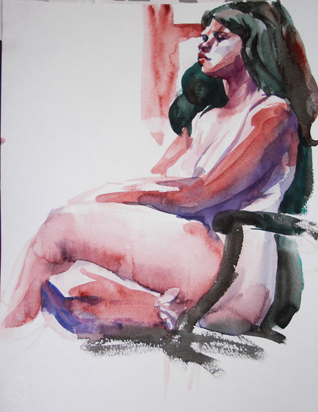 Female Nude, Seated In Profile, With Legs Crossed