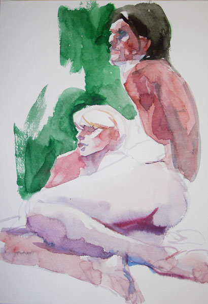 Reclining Female Nude, With Head Resting On the Lap Of A Male Nude (Roger)