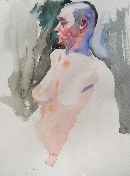 Female Nude With Shaved Head, Looking Over Her Right Shoulder