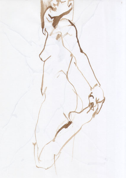 Female Nude, Standing In Profile, Her Left Hand Holding Her Raised Foot