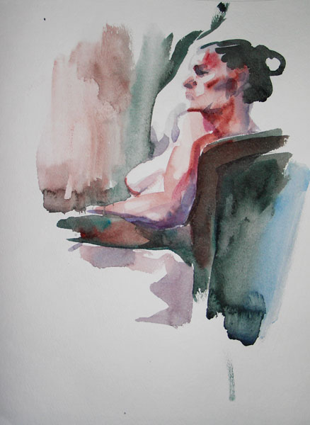 Female Nude, Seated In A Chair, In Profile And Reverse, Looking Left