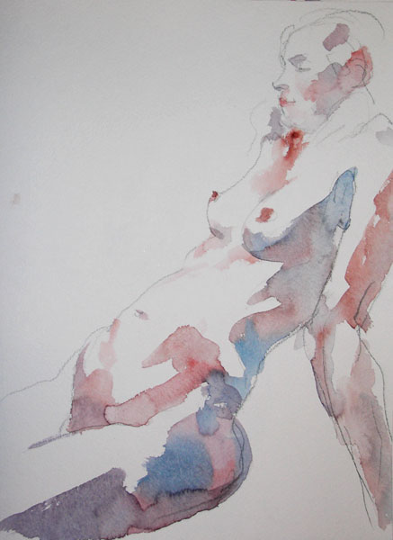 Seated Female Nude, In Profile, Leaning Back on Her Arms