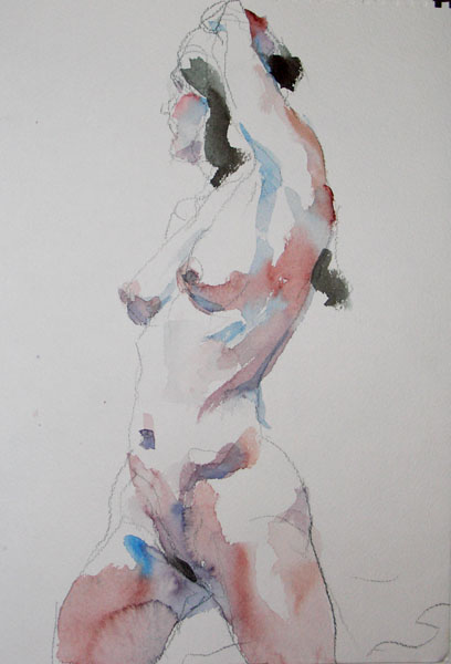 Female Nude On Her Knees, In Profile, Looking Back, With Left Arm On Her Head