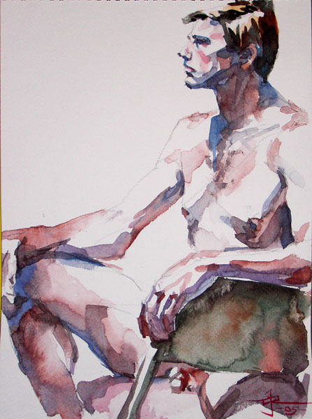 Seated Male Nude, Resting His Left Arm On The Back Of A Folding Chair