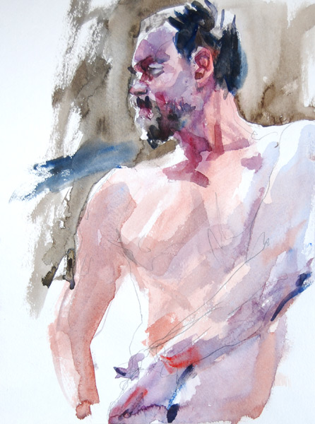 Bearded Male Nude, Torso Twisting, With Left Arm On Right Hip