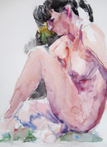 Seated Female Nude, In Profile, With Left Leg Bent At The Knee