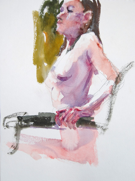Anastasia, Seated In Profile, Arching Her Torso Forward