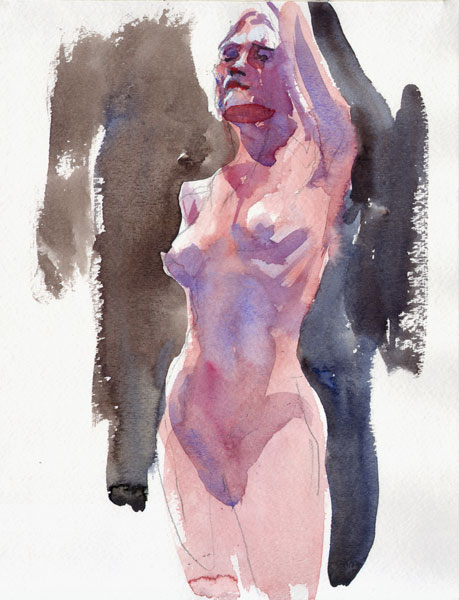 Standing Female Nude, With Left Arm Raised Behind Her Head
