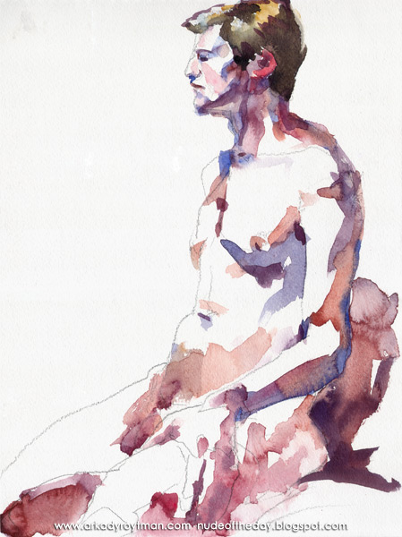 Male Nude, Seated In Semi-Profile, Looking Left