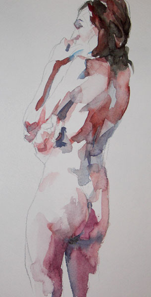 Female Nude, Standing In Profile and Reverse, In Thought