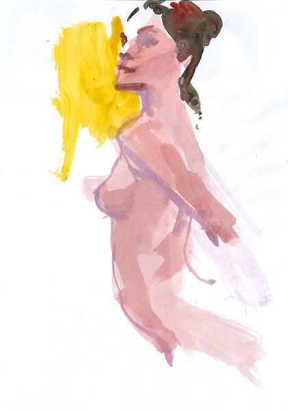 Female Nude, Standing In Profile, Leaning Forward With Arms Pulled Back