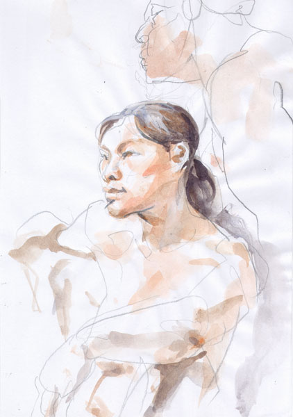 Yen, Seated In Semi-Profile, With Left Arm Resting On Left Knee, And A Seated Male Nude Behind Her