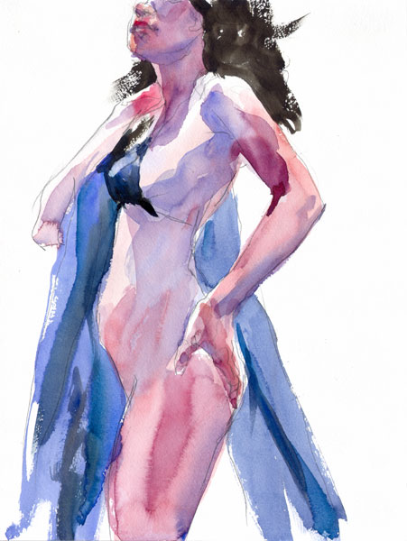 Pinkie, Standing In Profile, Wearing A Dark Blue Bikini Top, With A Blue Cloth Draped Over Her Right Shoulder