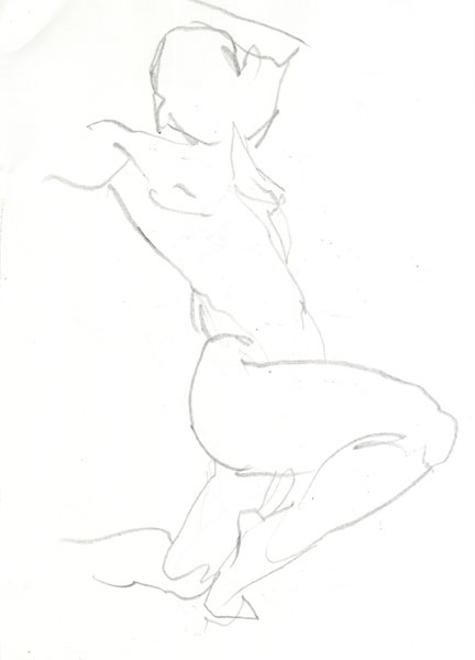 Female Nude, In Semi-Profile, Right Leg Bent And Kneeling On Her Left Knee, With Arms Raised