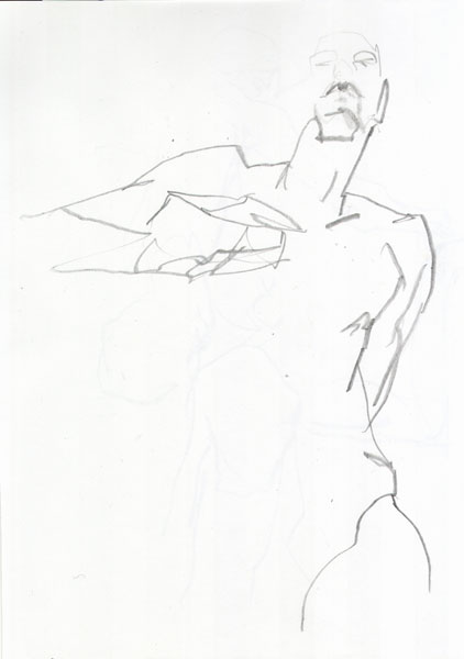 Male Nude, Standing In Contrapposto, With Right Hand Against His Chest