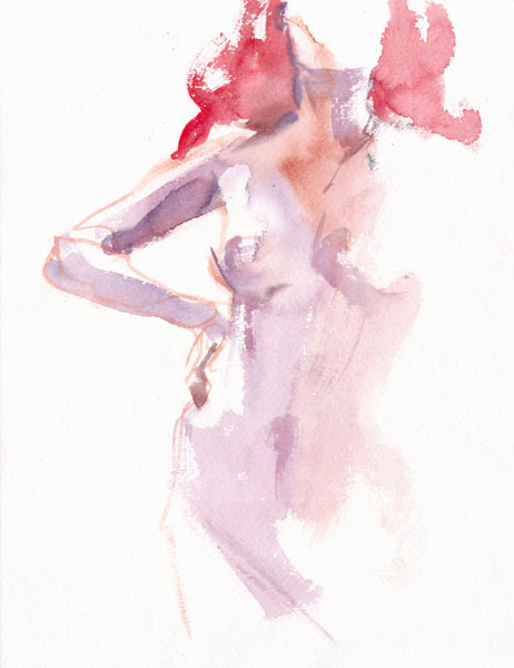 Standing Female Nude With Red Hair, Her Right Arm On Her Hip