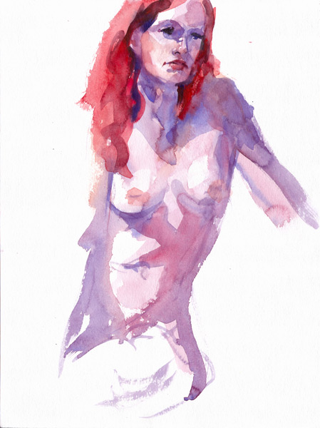 Seated Female Nude, With Hair Dyed Red, Her Hips Turned To Her Right