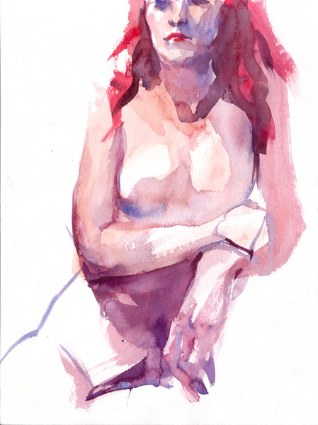 Seated Female Nude, With Hair Dyed Red, Holding Her Left Wrist With Her Right Hand