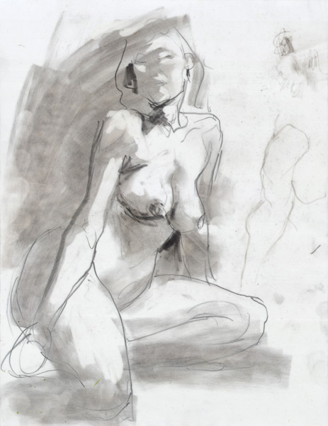 Seated Female Nude, In Semi-Profile, With Hands At Her Sides, Looking Over Her Right Shoulder