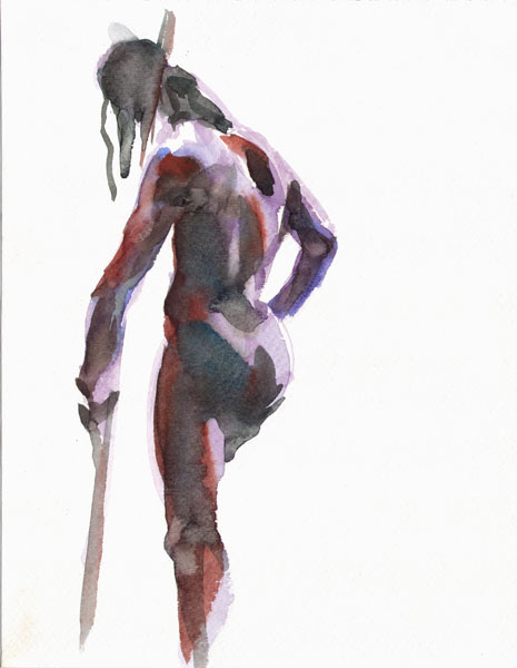 Male Nude, Standing In Reverse, With Right Arm Wrapped Around A Long Stick