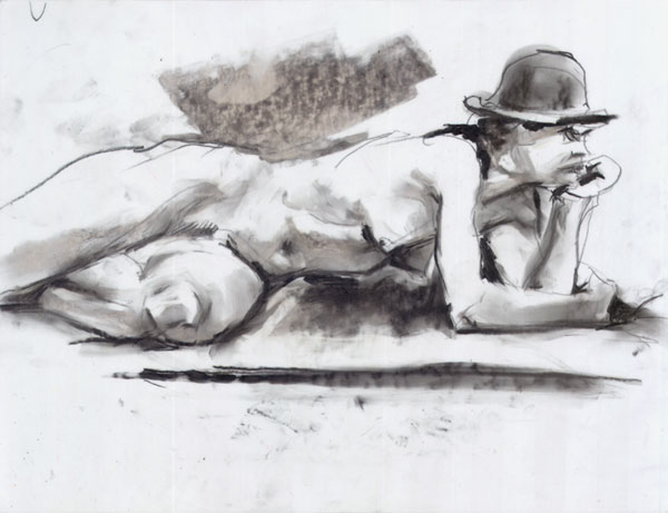 Female Nude Wearing a Bowler Hat, Reclining In Profile, Her Head Resting In Her Left Hand