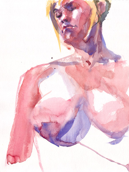 Female Nude Torso (Sara), Looking Down Past Her Right Shoulder