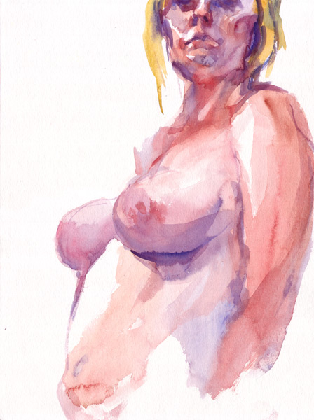 Female Nude Torso (Sara), In Semi-Profile, Looking Down Past Her Left Shoulder