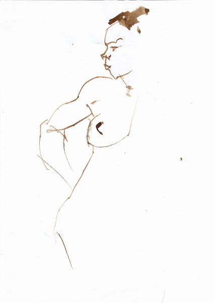 Standing Female Nude, Right Arm Resting Behind Her Hip, Looking Over Her Right Shoulder