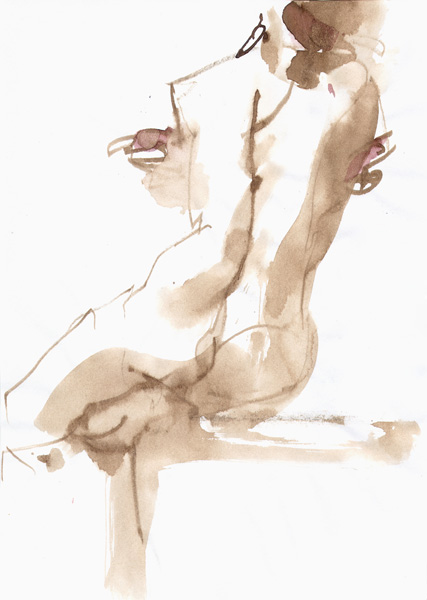 Female Nude, Seated In Reverse, Left Leg Extended And Arms Wrapped Around Her Sides