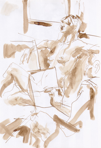 Julie, Seated In Semi-Profile, Leaning Back With Arms Spread Out, Being Sketched By a Fellow Artist