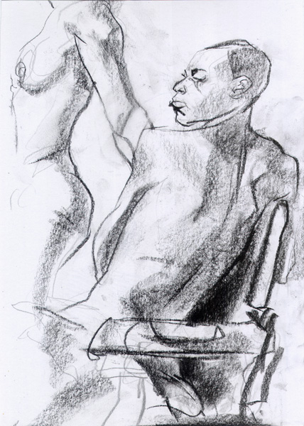 Kenitta, In Reverse, Seated In A Chair, Looking Back, With A Standing Female Nude In The Background