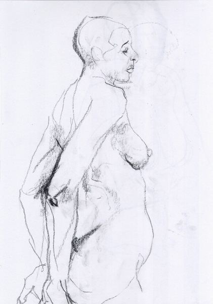 Female Nude, Standing In Profile, With Arms Behind Her Back, Palms Outstretched