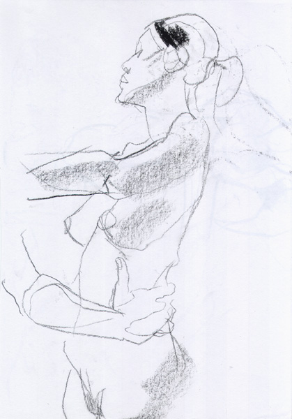 Yen, Standing In Profile, Left Arm Outstretched, With The Arm Of A Male Nude Holding Onto Her Hip