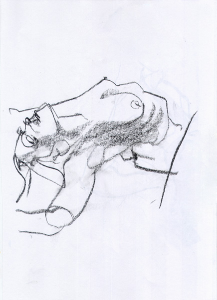 Reclining Female Nude, Stretching Her Arms Above Her Head While Arching Her Back