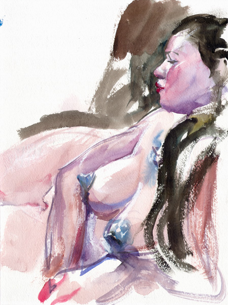 Female Nude, Reclining In Profile, Wearing Blue Pasties