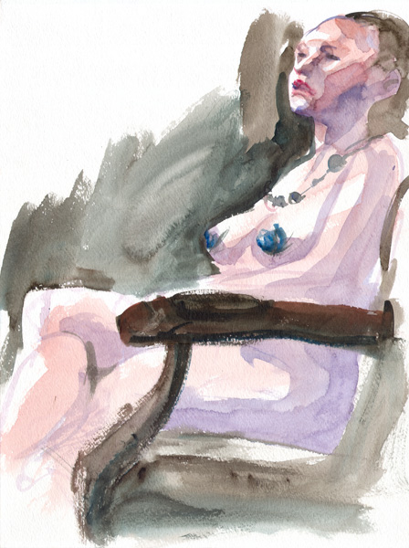 Female Nude, In Profile, Seated In a Chair, Her Legs Crossed, Wearing a Necklace And Blue Pasties